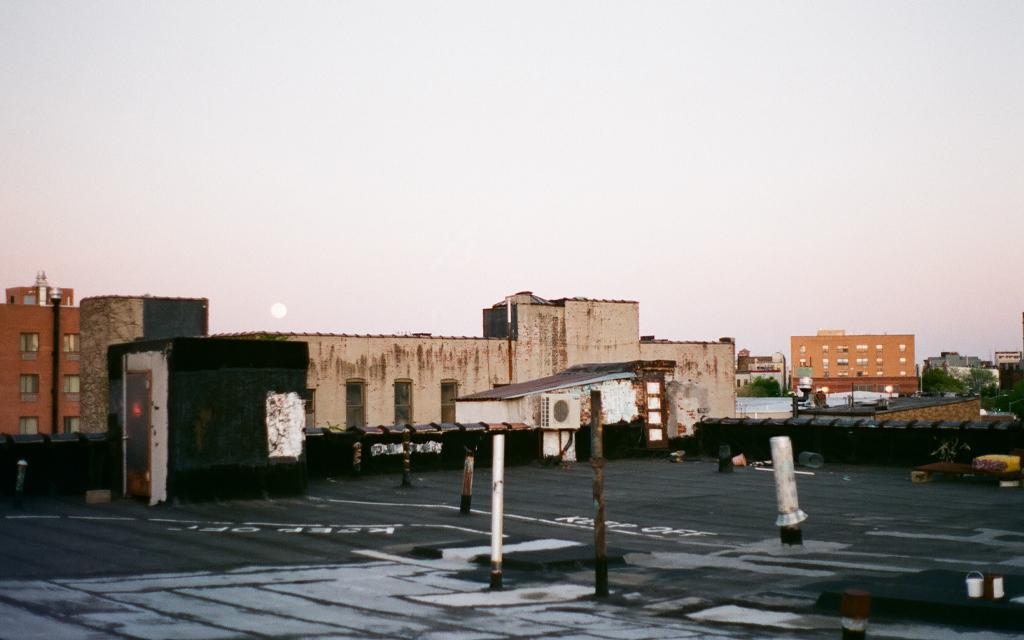 A sleepy Brooklyn rooftop under a rising full moon