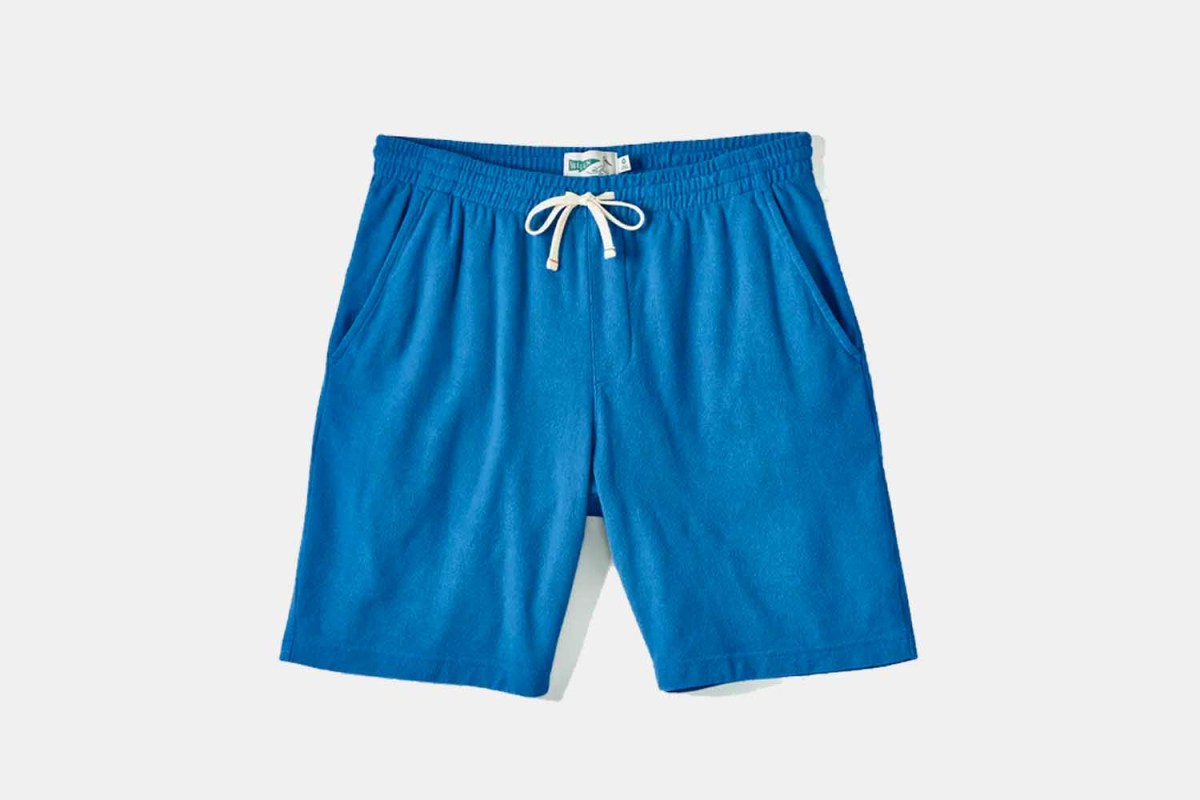 Wellen Towel Sweat Shorts in Pacific Blue. The men's lounge shorts are on sale at Huckberry.