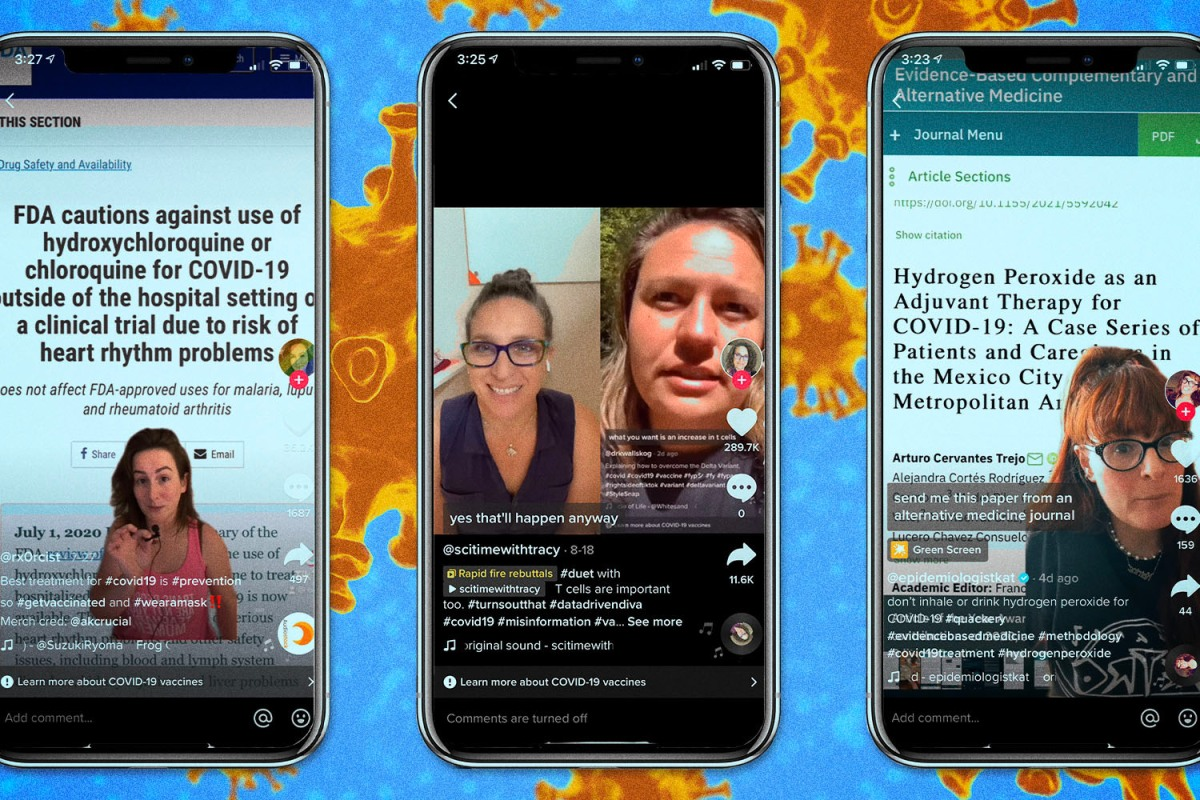 A screenshot of three health experts from TikTok: @scitimewithtracy, @epidemiologistkat and @rx0rcist who on TikTok, combat and debunk rampant misinformation surrounding COVID-19 and vaccines