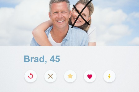 A mock dating app profile shows a photo of a man and woman, with an X drawn over the woman's face