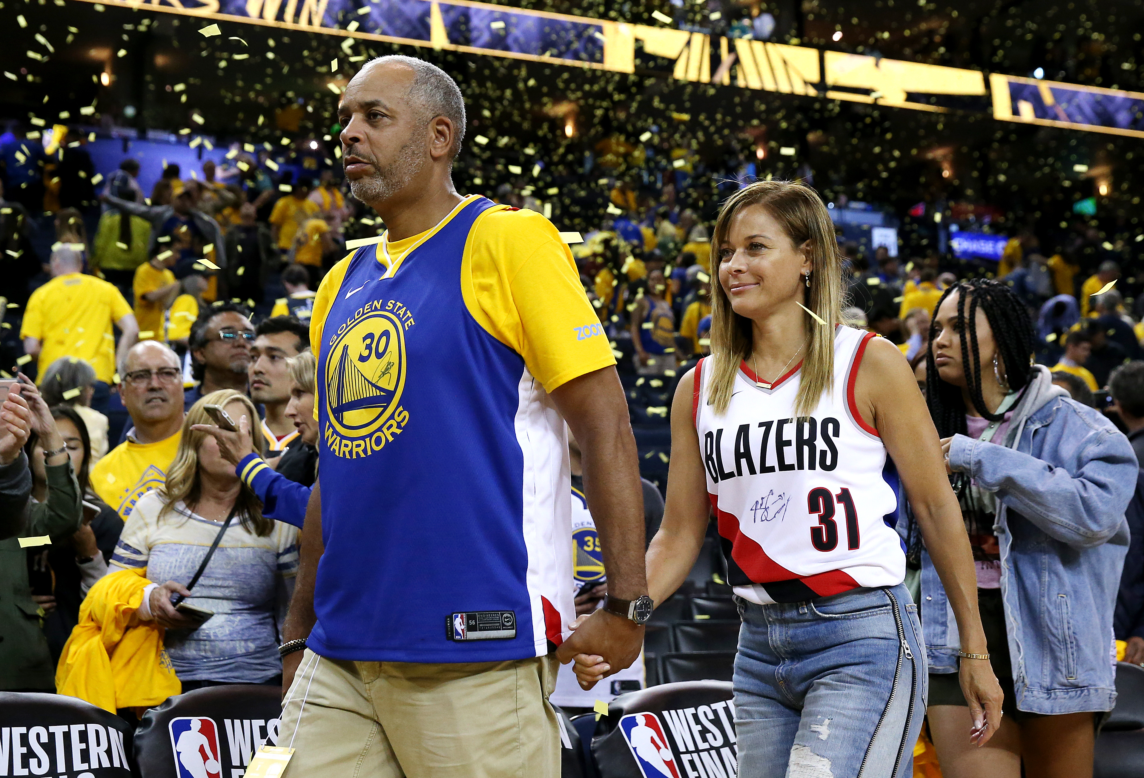 Dell Curry and Sonya Curry, parents of Stephen Curry #30 of the Golden State Warriors (not pictured) and Seth Curry #31 of the Portland Trail Blazers (not pictured) attend game one of the NBA Western Conference Finals at ORACLE Arena on May 14, 2019 in Oakland, California