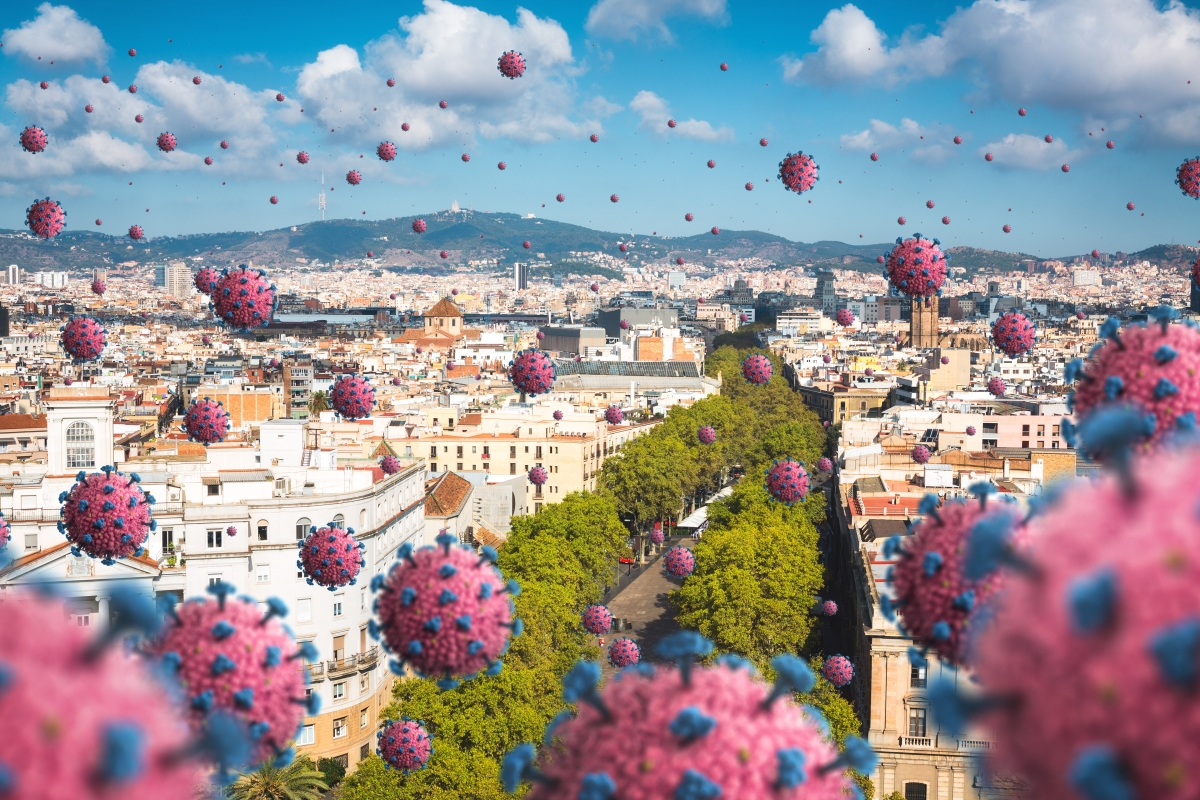 Rendering of virus spreading in the city, floating in the air above Europe