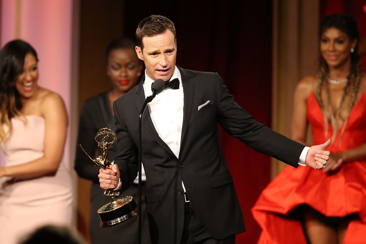 Mike Richards accepts the award for outstanding game show for The Price is Right at the 2016 Daytime Emmy Awards. The producer has been announced as the new host of Jeopardy! but a tainted past including offensive podcast comments have come to light.