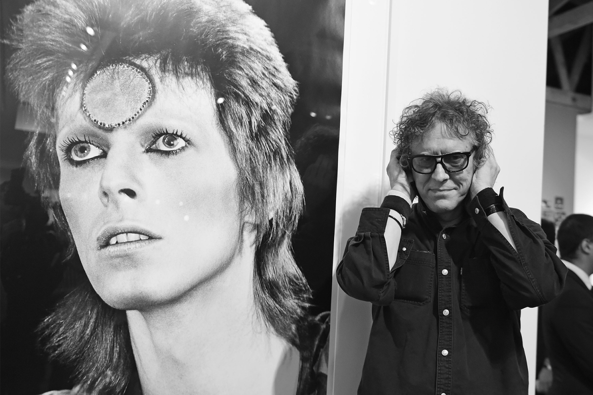 """Mick Rock at the TASCHEN Gallery opening reception for """"Mick Rock: Shooting For Stardust - The Rise Of David Bowie & Co."""""""