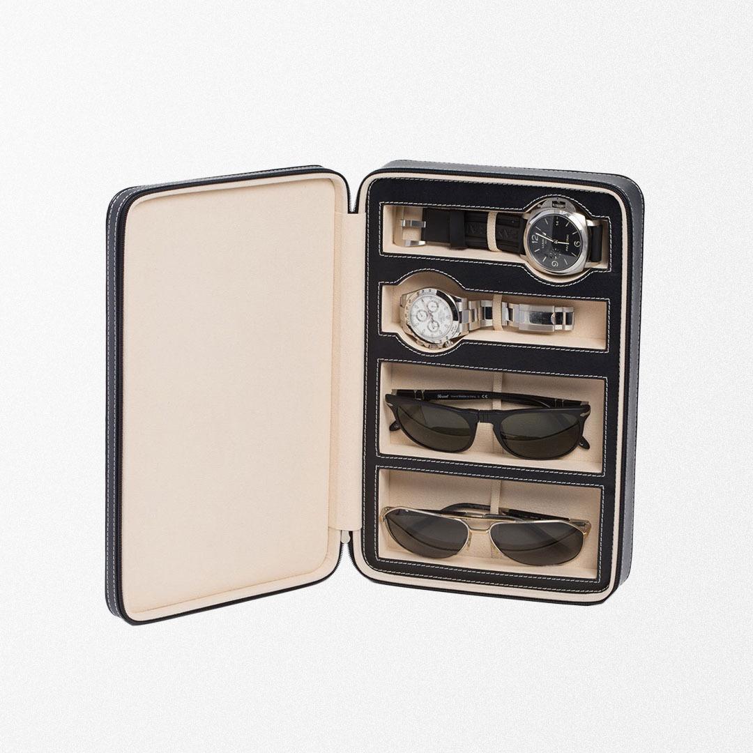 Bey-Berk Leather Watch & Sunglasses Storage Case