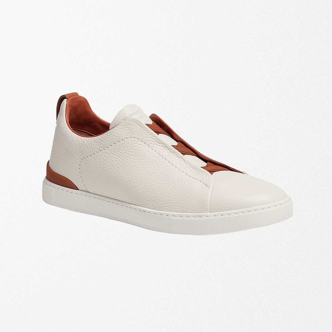Ermenegildo Zegna Triple Stitch Deerskin Low-Top Sneakers