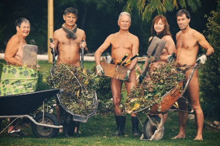 four nude gardeners practicing a lifestyle known as naturism