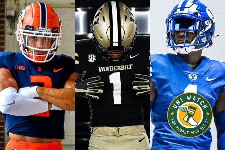 From left to right: New college football uniforms from Illinois, Vanderbilt and BYU