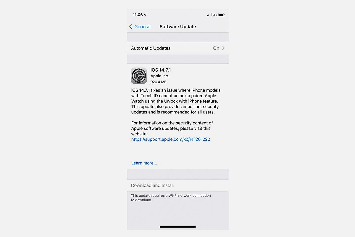 Apple iOS 14.7.1 as it appears on your iPhone