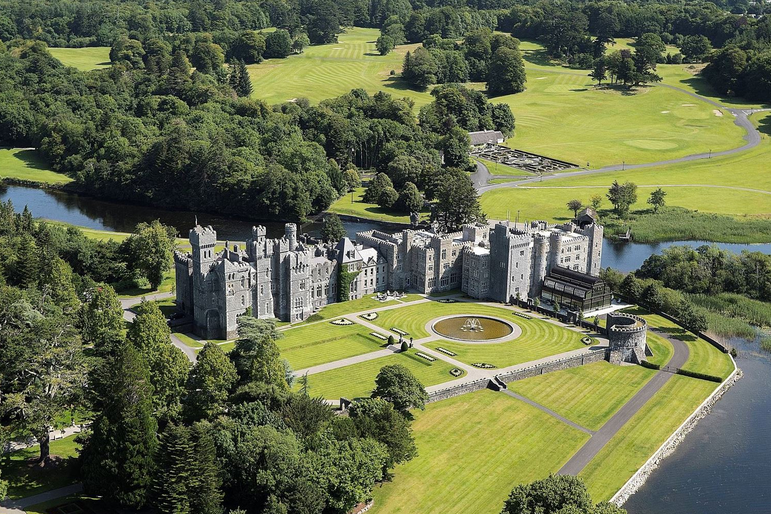 An aerial view of Ashford Castle in County Mayo, Ireland