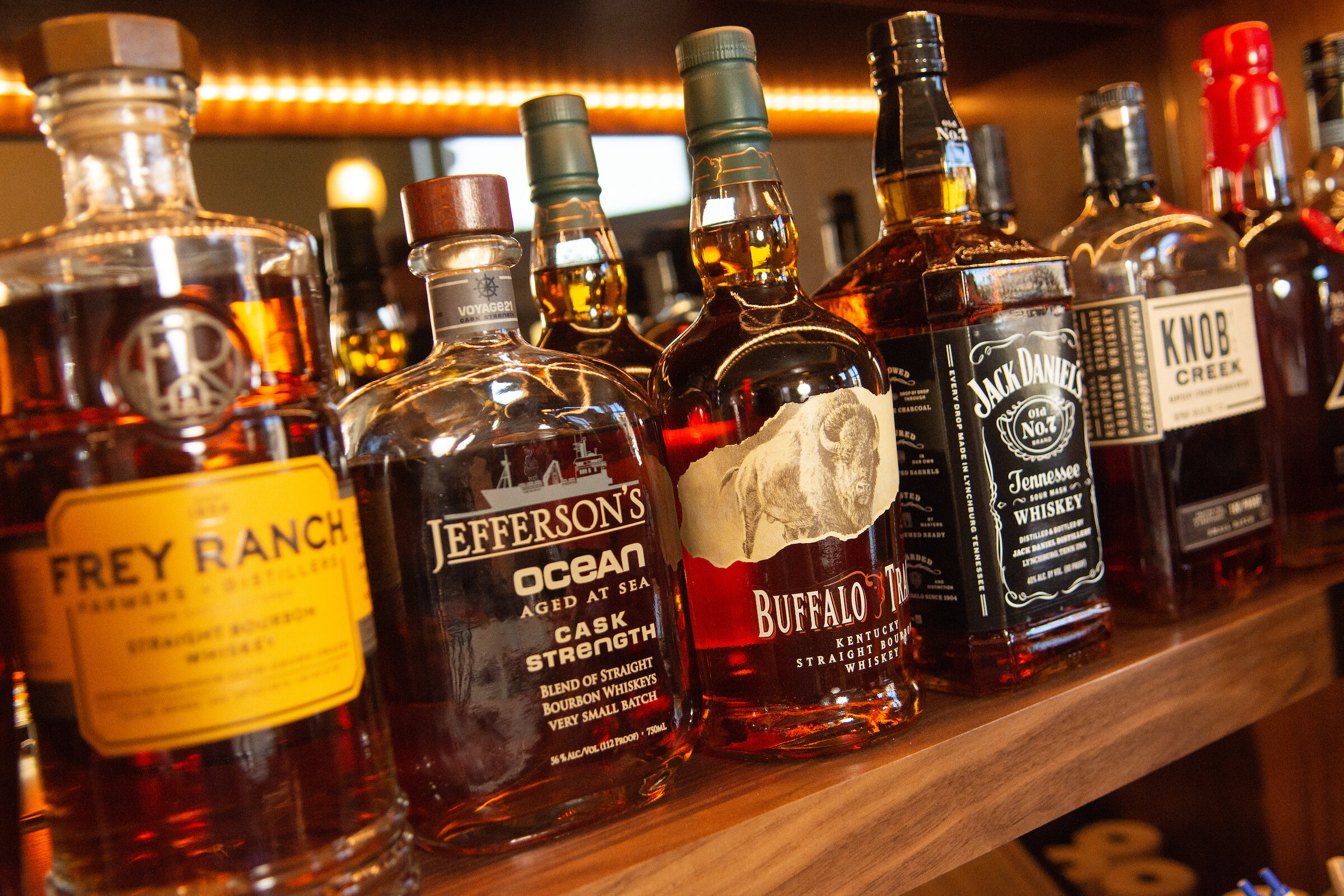 A selection of bourbons at the Bank Saloon in carson city