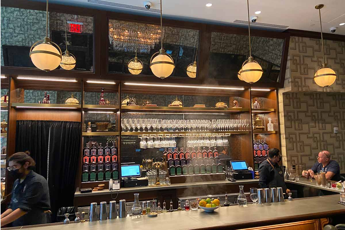 The second floor bar at Great Jones Distilling Co.