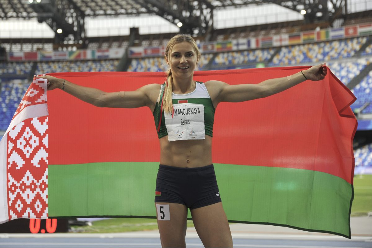 Sprinter Krystsina Tsimanouskaya of Belarus in Italy in 2019. The Olympic sprinter, who competed in the Tokyo Olympics, is currently seeking political asylum.