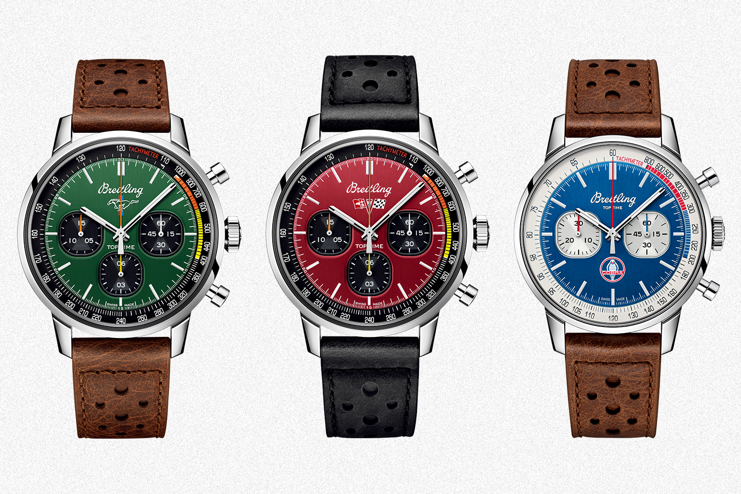 The three watches from Breitling's Top Time Classic Cars Capsule Collection, including a green Ford Mustang, red Chevrolet Corvette Sting Ray and blue Shelby Cobra timepiece