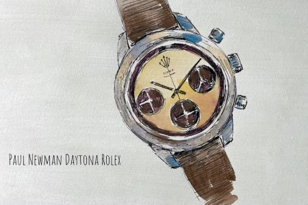 """An image of an illustrated Rolex Daytona watch from Brett Dennen's lyric video for the song """"Paul Newman Daytona Rolex"""" from the album """"See the World"""""""