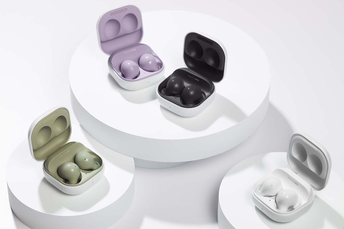 Four styles of the Samsung Galaxy Buds2