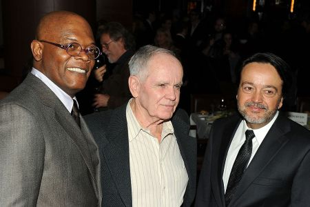 """Actor Samuel L. Jackson, writer Cormac McCarthy and HBO Films president Len Amato attend the HBO Films & The Cinema Society screening of """"Sunset Limited"""" after party at Porter House on February 1, 2011 in New York City."""