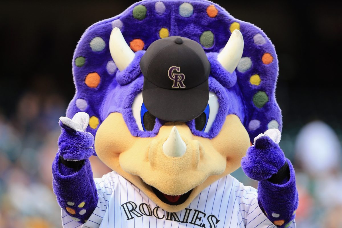 A close-up of Colorado Rockies mascot Dinger. Confusion Lingers About Colorado Fan Yelling at Mascot or Directing Racial Slur at Black Miami Player