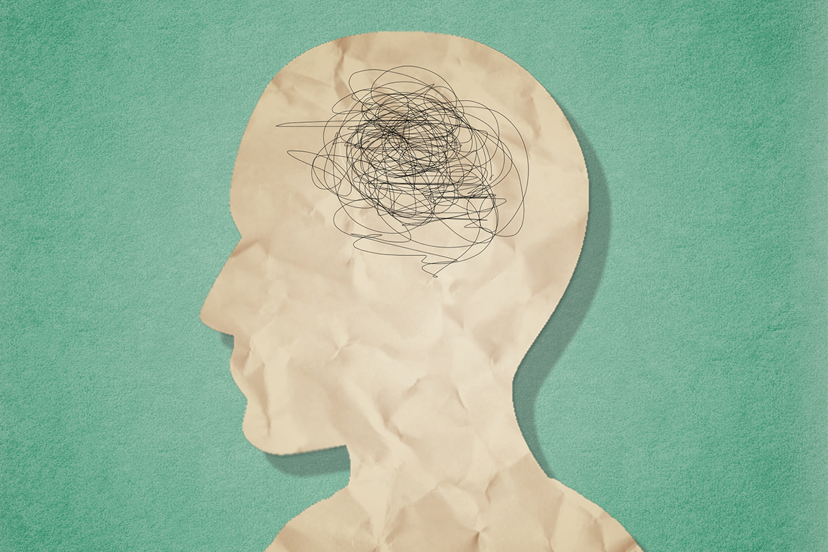A digital illustration of a person with squiggles over the brain. We look into how adult ADHD has become a larger concern during the pandemic.