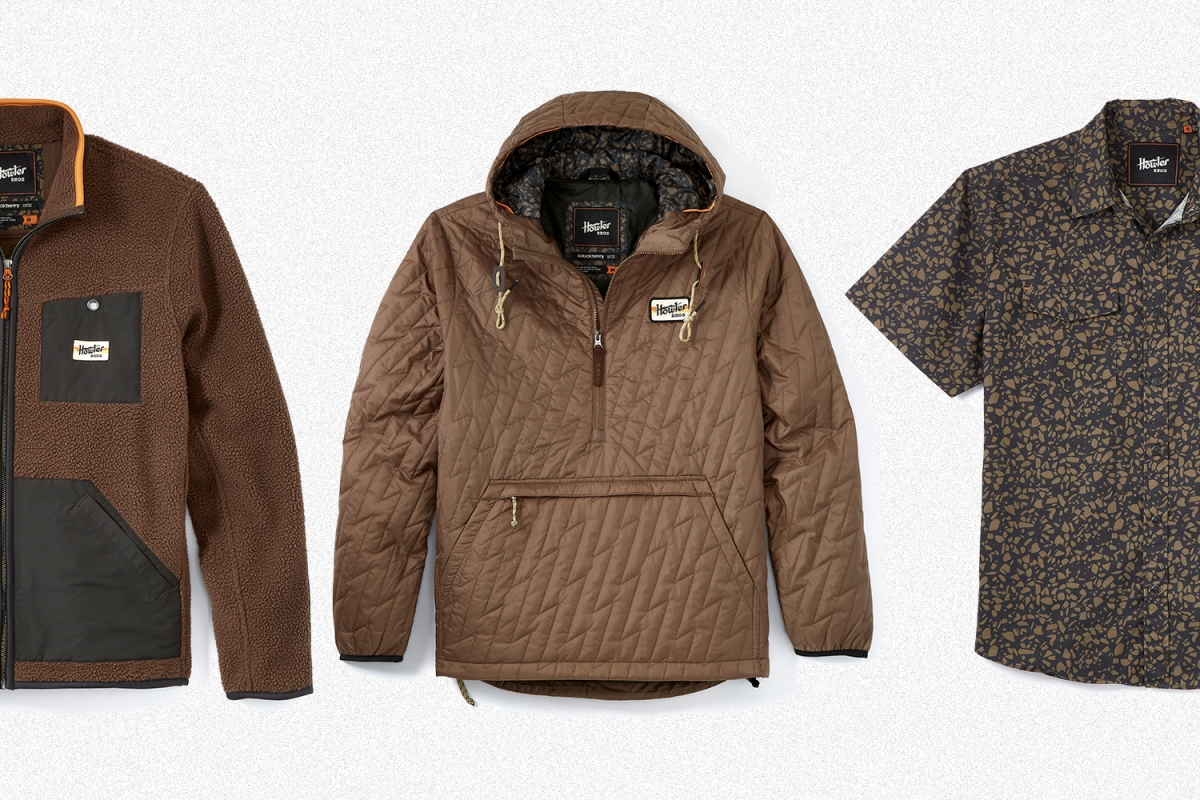The Chisos Jacket, Voltage Quilted Pullover and H Bar B Shirt from the Howler Brothers and Huckberry Morel Seaglass collection. It's a fleece, insulated hoodie and short-sleeve button-up shirt perfect for fall 2021 adventures.