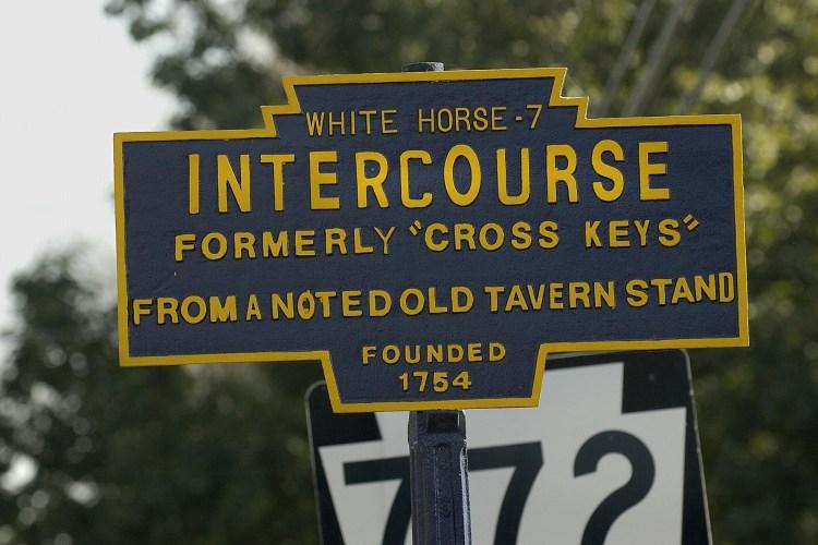 A sign entering Intercourse, Pennsylvania