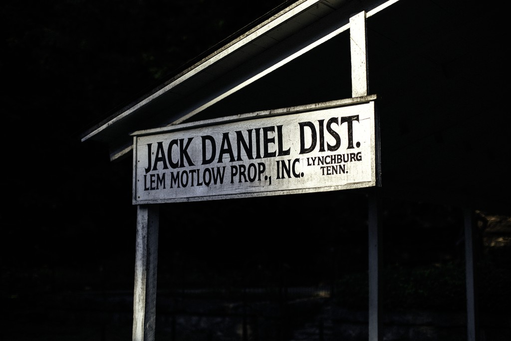 Jack Daniel's sign in a black and white photo. The distillery announced its 10-Year-Old Tennessee Whiskey in August 2021.