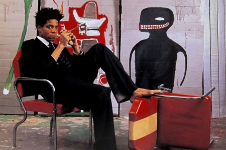 Jean-Michel Basquiat in his studio photographed by Lizzie Himmel