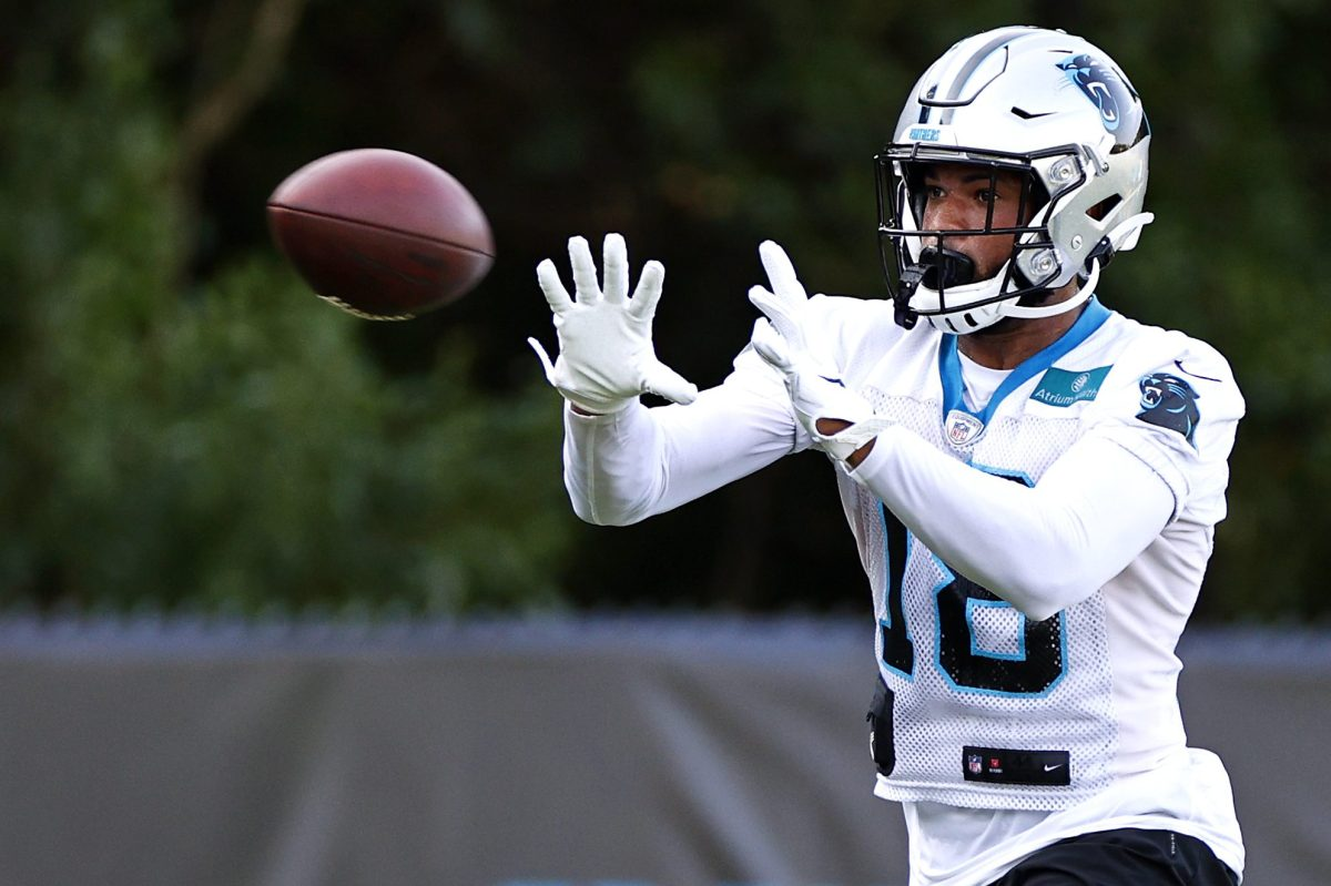 Keith Kirkwood of the Carolina Panthers suited up during training camp. The wide receiver was briefly hospitalized after a hit by rookie J.T. Ibe at training camp.