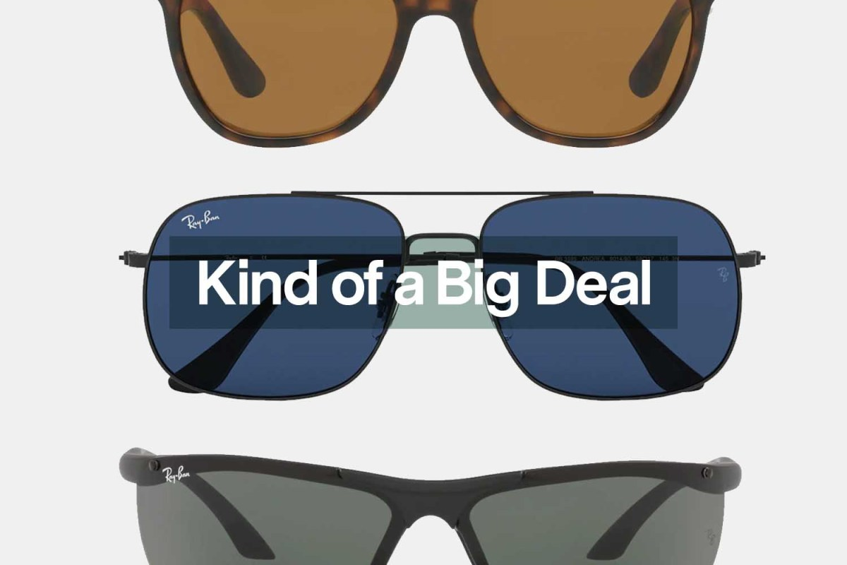 """Ray-Ban sunglasses are discounted during the End of Season sale. Here are three of our favorites behind the text """"Kind of a Big Deal."""""""