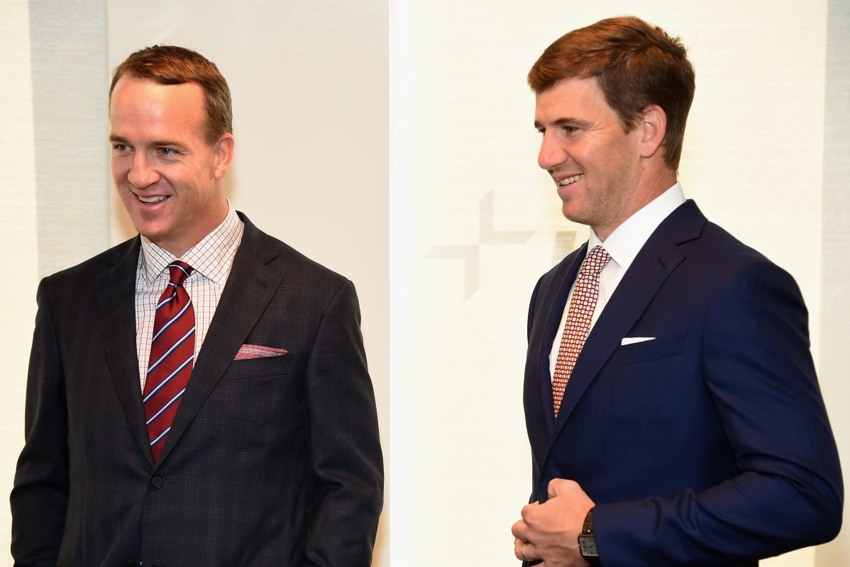 Peyton Manning and Eli Manning attend a charity event. The brothers will host several ESPN football broadcasts without a traditional host.