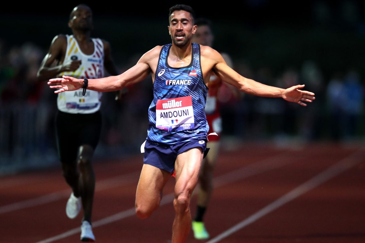 Morhad Amdouni of France at the Müller British Athletics 10,000m Championships. The runner courted controversy at the Tokyo Olympics after knocking over water bottles during the men's marathon race.