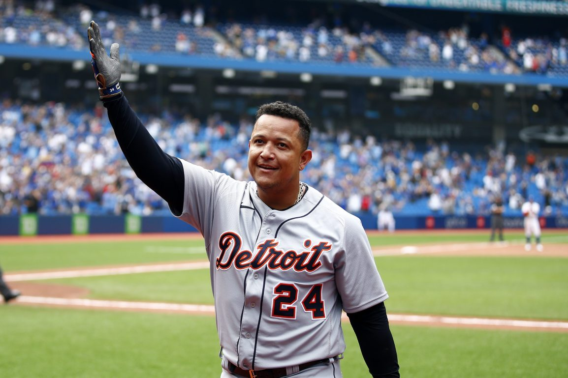 Miguel Cabrera celebrates after hitting his 500th home run