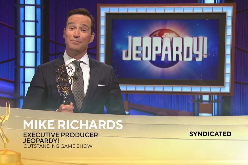 Mike Richards accepts the award for Outstanding Game Show for Jeopardy! at the 2021 Daytime Emmy Awards