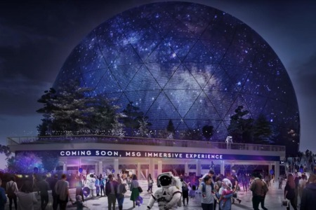 Exterior of London's proposed MSG Sphere venue, which will show videos and advertisements on its exterior