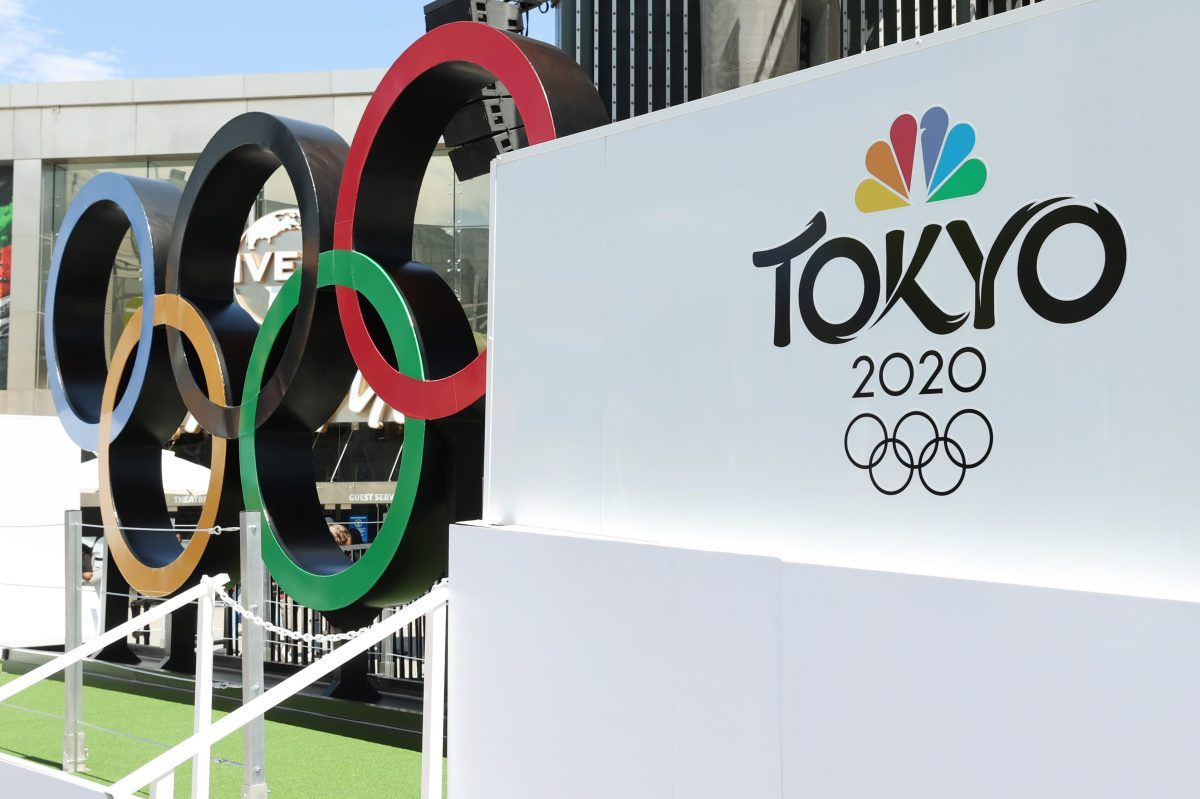 NBC logo at the Olympics. Ratings were severely down this year.
