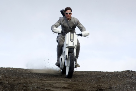 "Tom Cruise astride a custom bike designed by Justin Kell for ""Oblivion"""