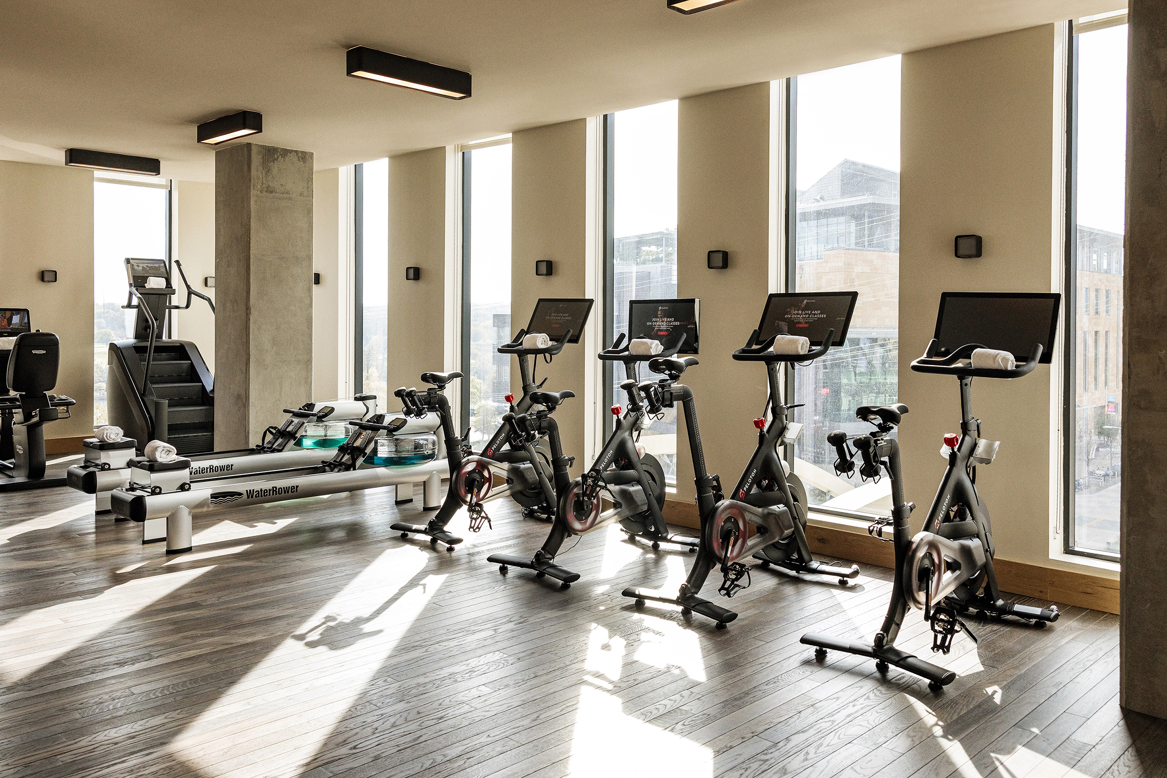 Inside the fitness center on the fourth floor of the Proper Hotel in austin