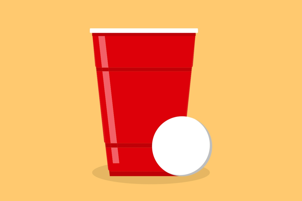An illustration of a red solo cup with a ping pong ball. Are those lines for measuring booze? We debunk that myth.