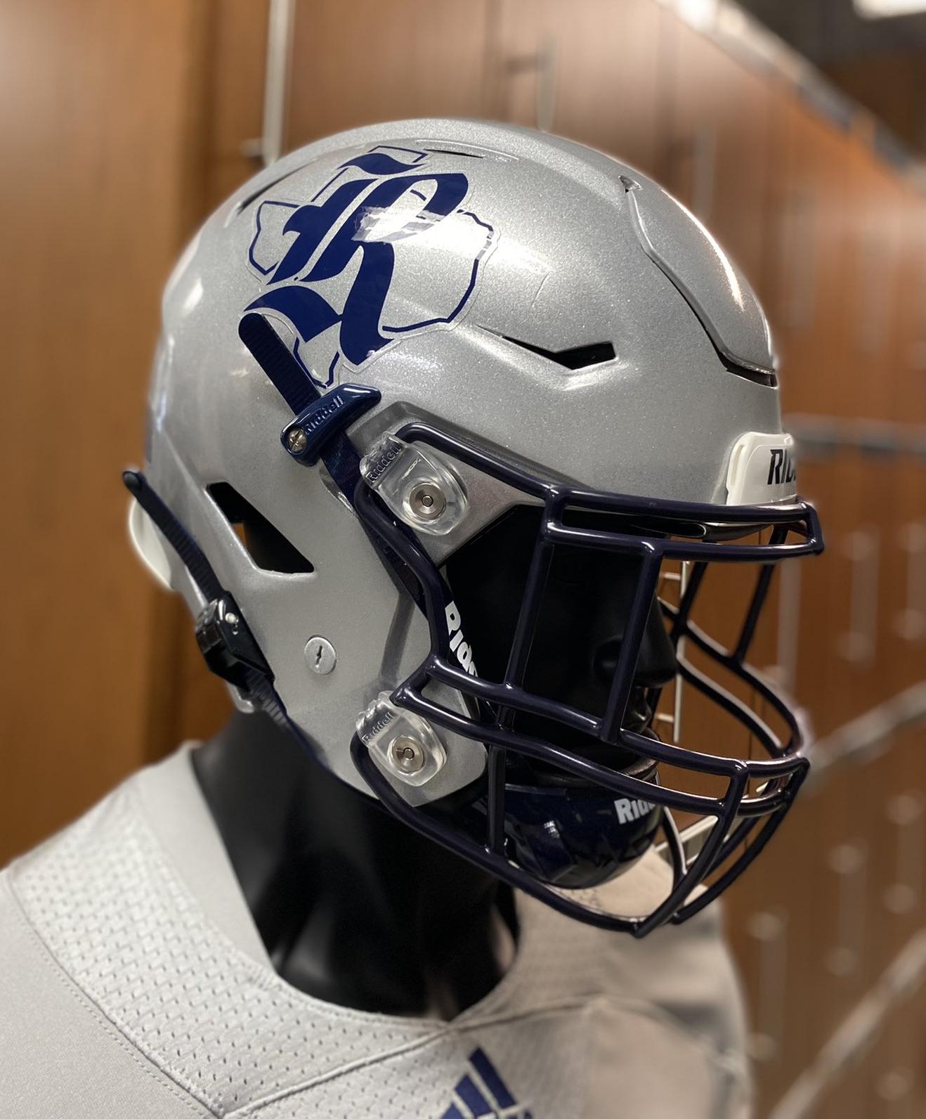 rice university's new silver football helmet for 2021