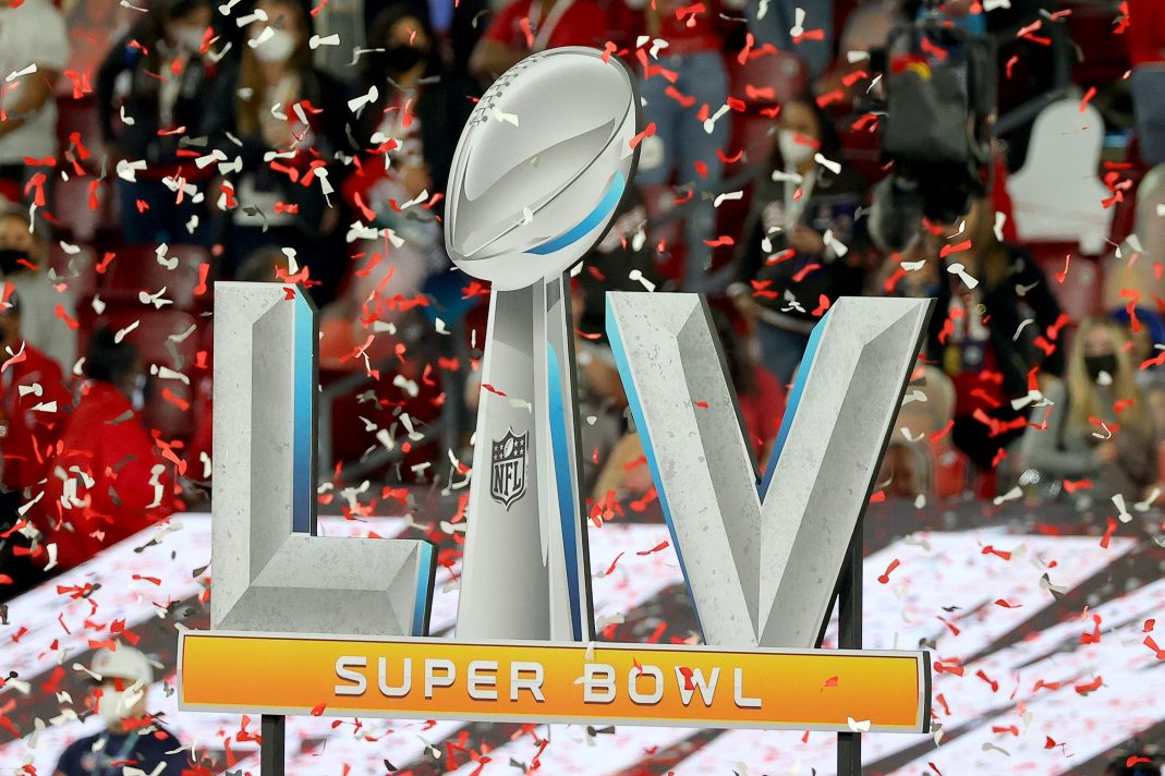 The Super Bowl LV logo at Raymond James Stadium in 2021. Could the Super Bowl ever be a pay-per-view event?