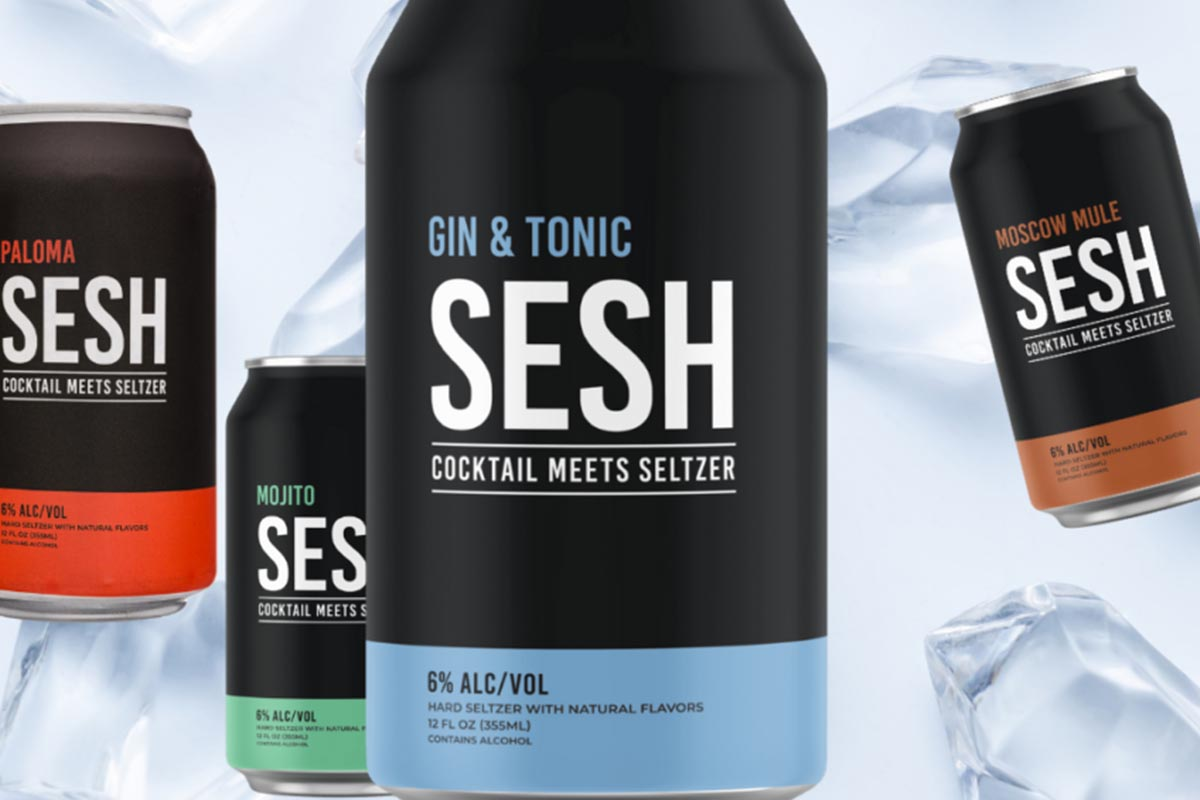 cans of SESH hard seltzers