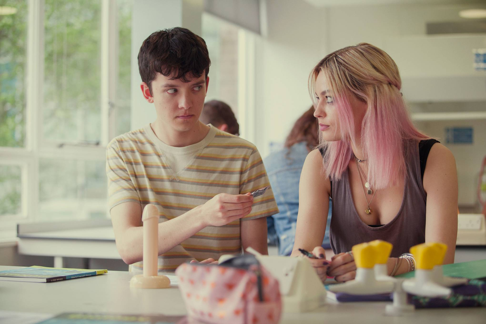 """Asa Butterfield and Emma Mackey in """"Sex Education"""""""