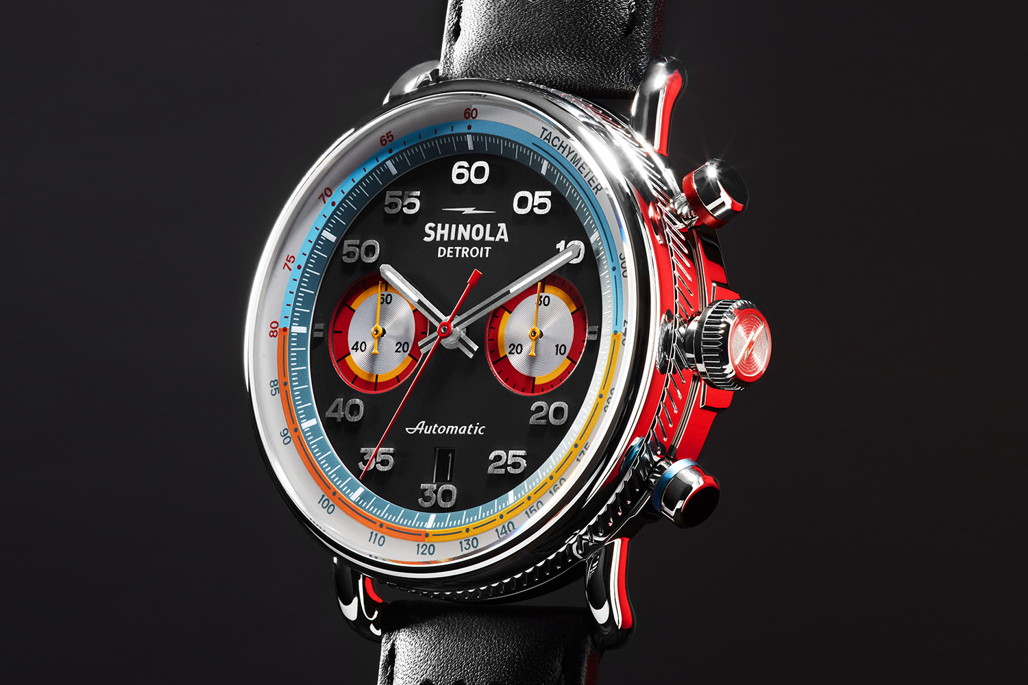 The Shinola Canfield Speedway, the watch brand's first automatic chronograph. The timepiece sold out in less than 24 hours.