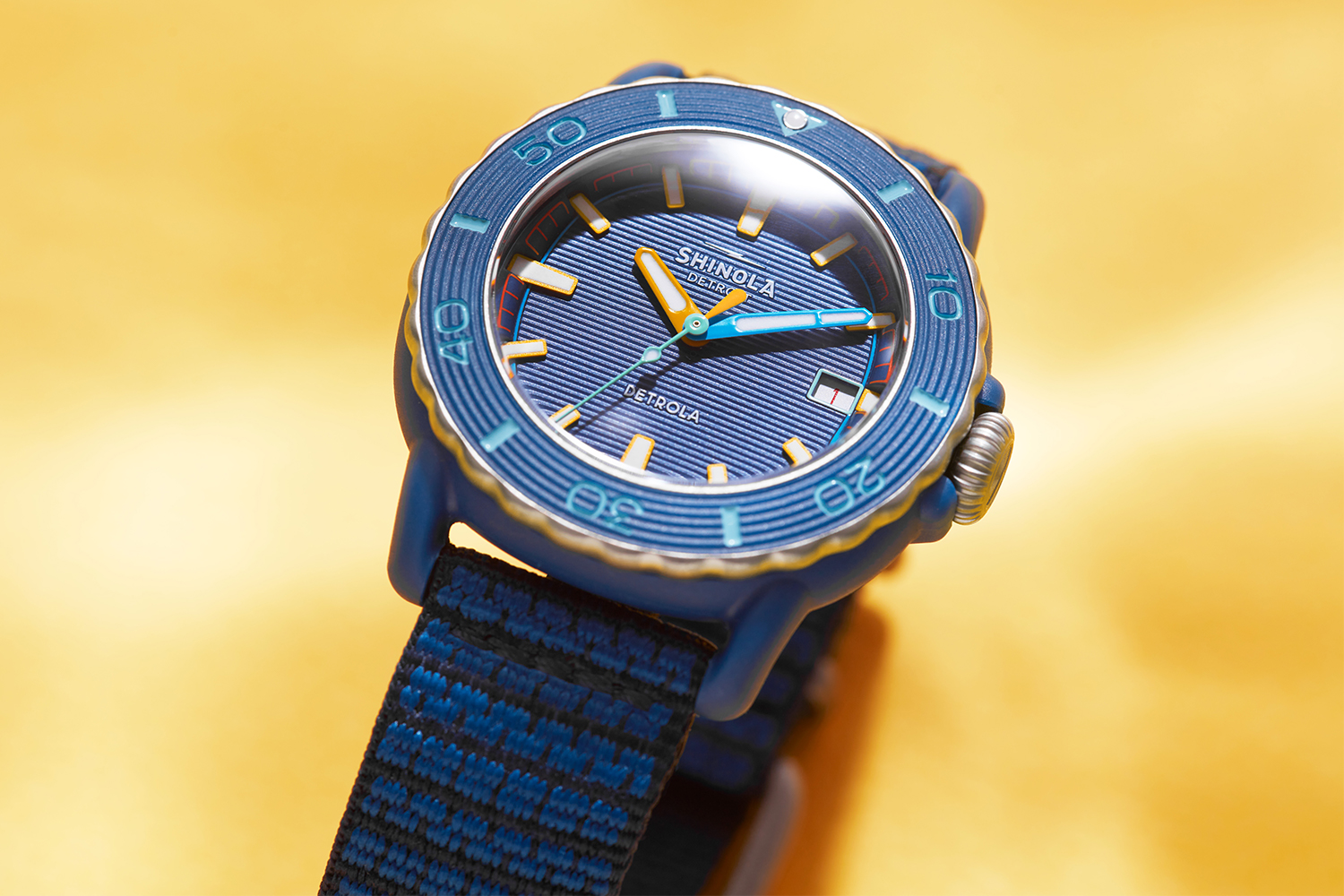 The Shinola Sea Creatures, a version of the quartz-powered Detrola watch that is made partially of ocean-bound plastic.