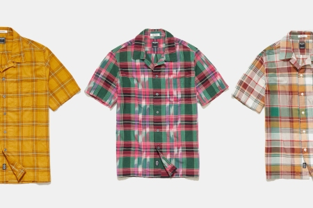 Three different Madras Camp Collar Shirts from Todd Snyder, which are on sale for almost 50% off