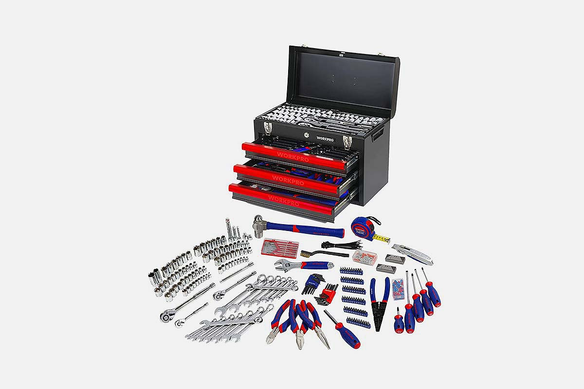 WorkPro 408-Piece Mechanics Tool Set with 3-Drawer Heavy Duty Metal Box, now on sale at Woot