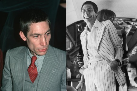 two photos of charlie watts in double-breasted suits