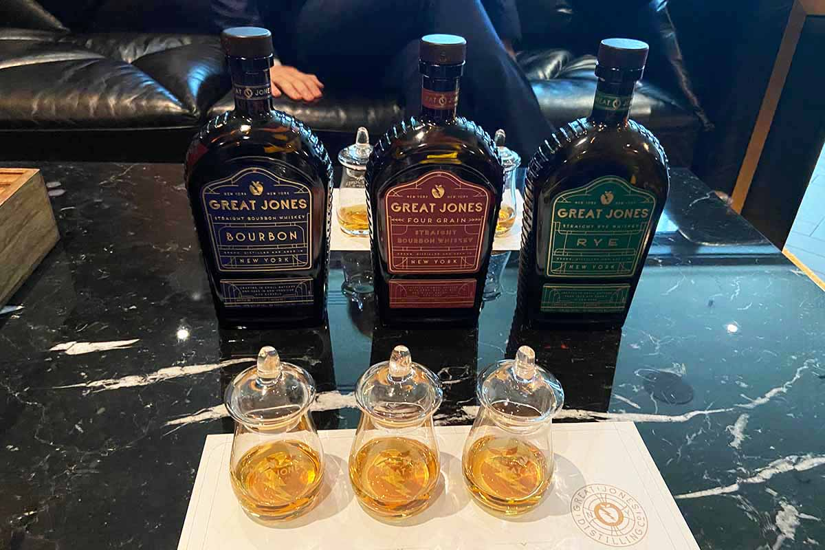 Bottles of three launch whiskeys at Great Jones Distilling Co.