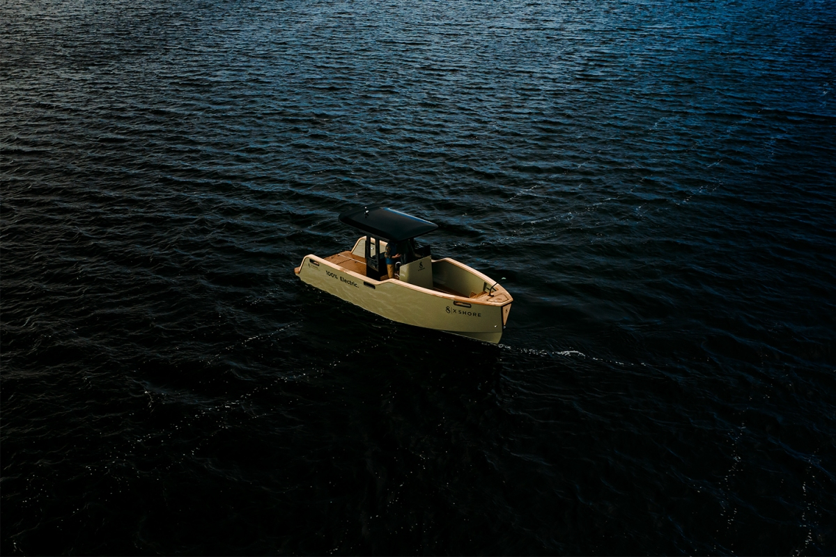 The Eelex 8000, an all-electric boat from Swedish company X Shore, sitting in the water. Can this yacht tender, now available in the U.S., revolutionize the boating industry?