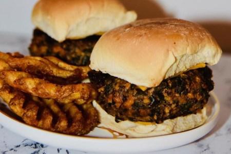 A kelp-based burger on a plate.